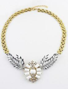 White Gemstone Gold Diamond Leaf Necklace