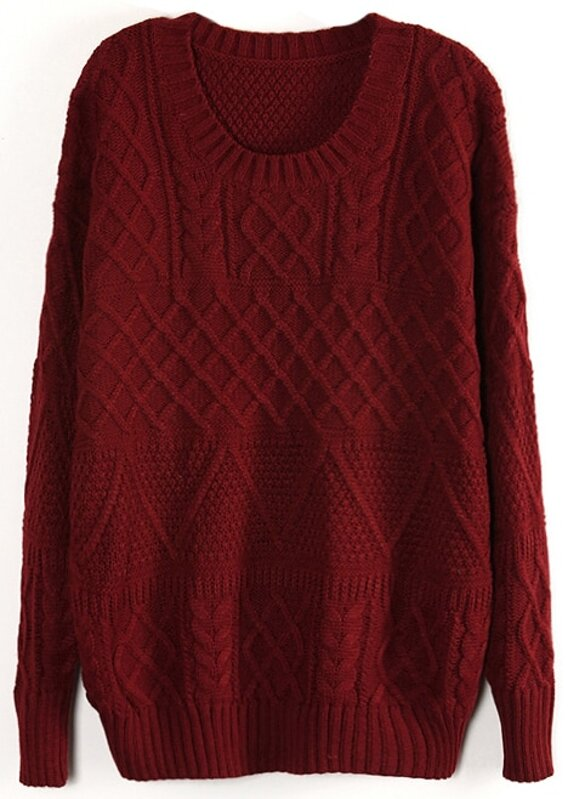 Wine Red Long Sleeve Cable Knit Pullover Sweater  df3e40995