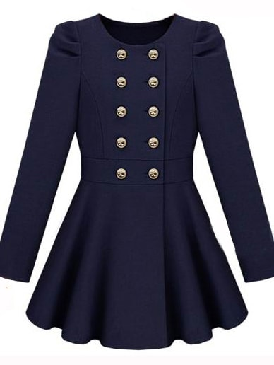 6ad92f87f851 Gossip Girl Navy Long Sleeve Double Breasted Flare Hem Wool Coat