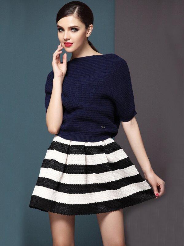 Falda plisada rayas-Blanco y negro  214ed6e75fea