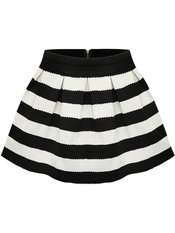 b8353ba3b Falda plisada rayas-Blanco y negro