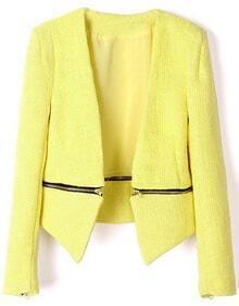 Yellow V Neck Long Sleeve Zipper Embellished Coat