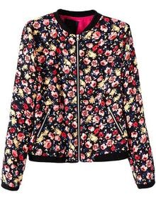 Black Long Sleeve Zipper Pockets Floral Jacket