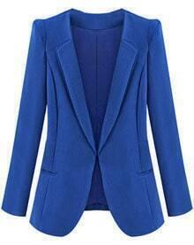 Blue Lapel Long Sleeve Slim Pockets Blazer