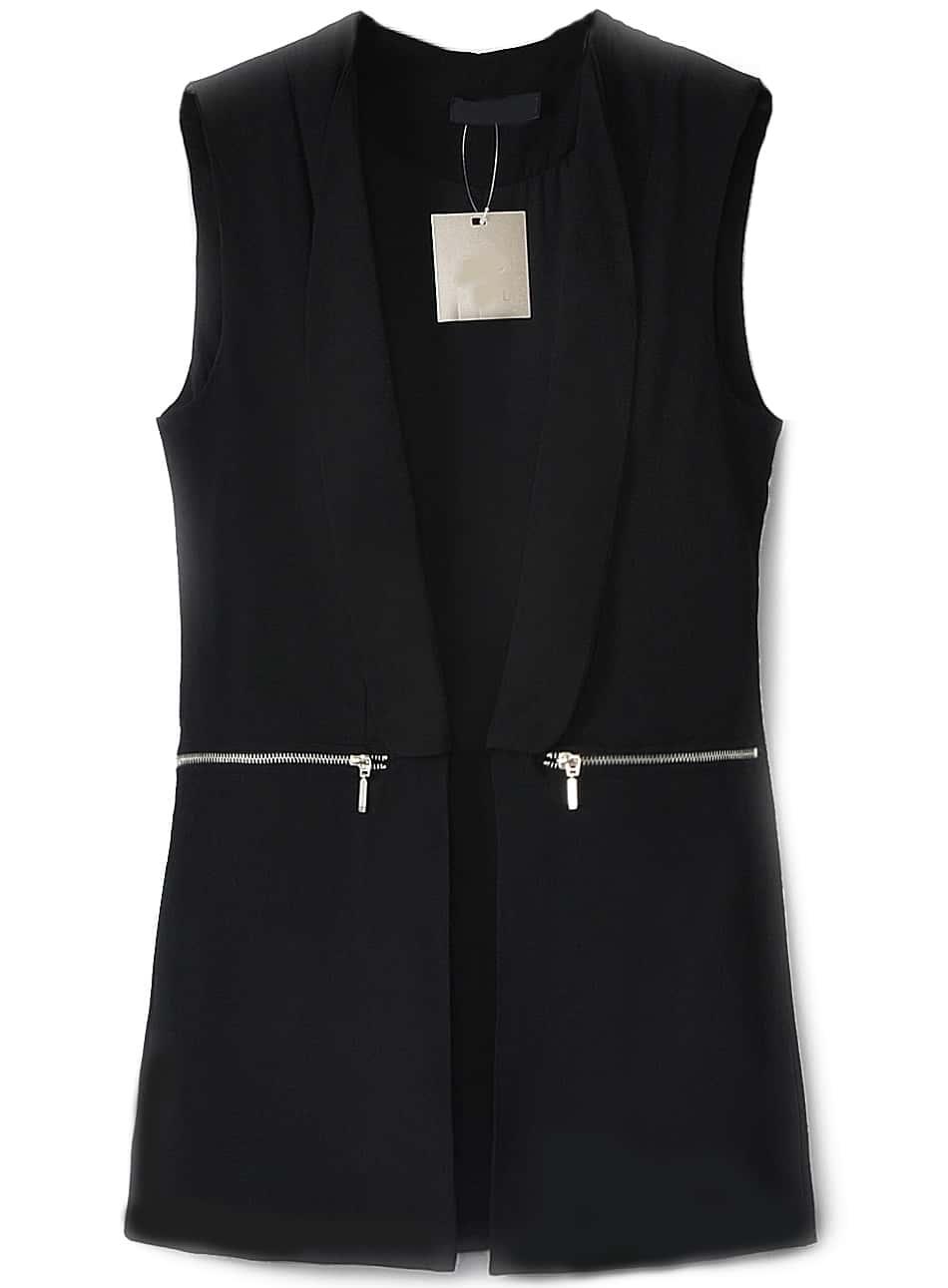 fef117b267c4 Black Lapel Sleeveless Zipper Embellished Blazer | SHEIN