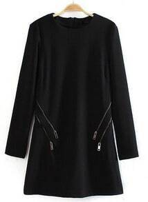 Black Long Sleeve Zipper Embellished Straight Dress