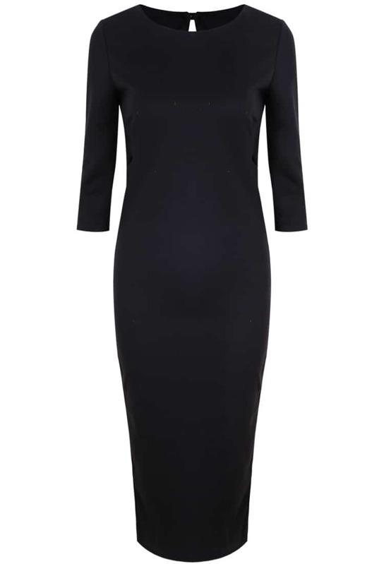 Black Long Sleeve Backless Bodycon Knit Dress Sheinsheinside