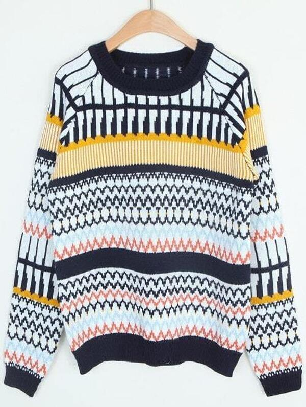 133c87fd03 Navy Long Sleeve Zigzag Loose Knit Sweater -SheIn(Sheinside)