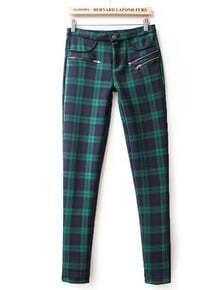 Green High Waist Plaid Elastic Pant