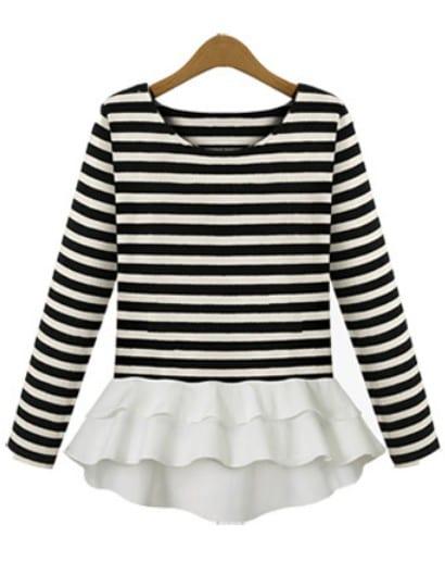grandes ofertas en moda estilos de moda disfruta del precio inferior Camiseta volante rayas manga larga-Blanco y negro