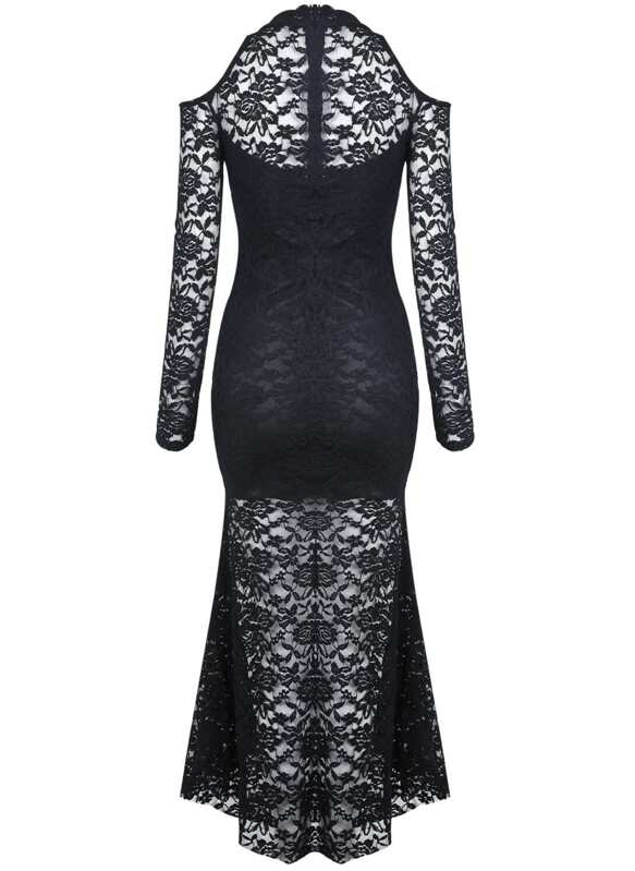 d932287c86 Black Off the Shoulder Long Sleeve Lace Dress -SheIn(Sheinside)