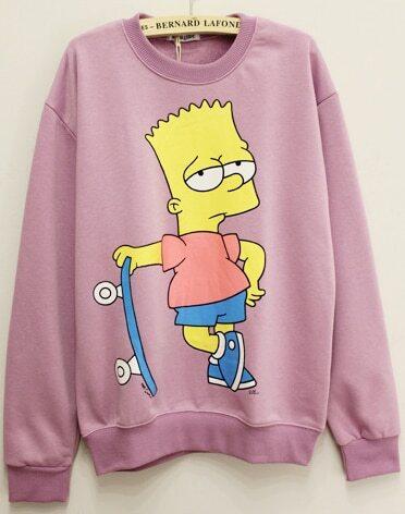 disfruta de un gran descuento disfruta del mejor precio gran inventario Sudadera Simpson manga larga-rosado