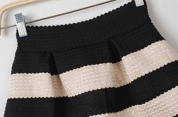 4c5e396eea Black Apricot Striped High Waist Elastic Flare Skirt | SHEIN