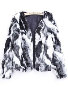 Black White Long Sleeve Crop Faux Fur Coat