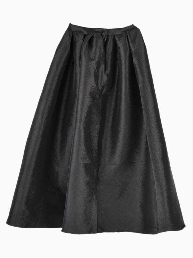 black flare pleated midi skirt shein sheinside