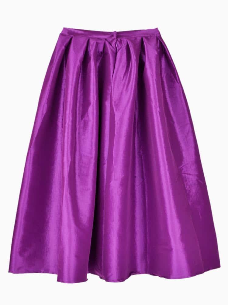 Purple Flare Pleated Midi Skirt -SheIn(Sheinside)