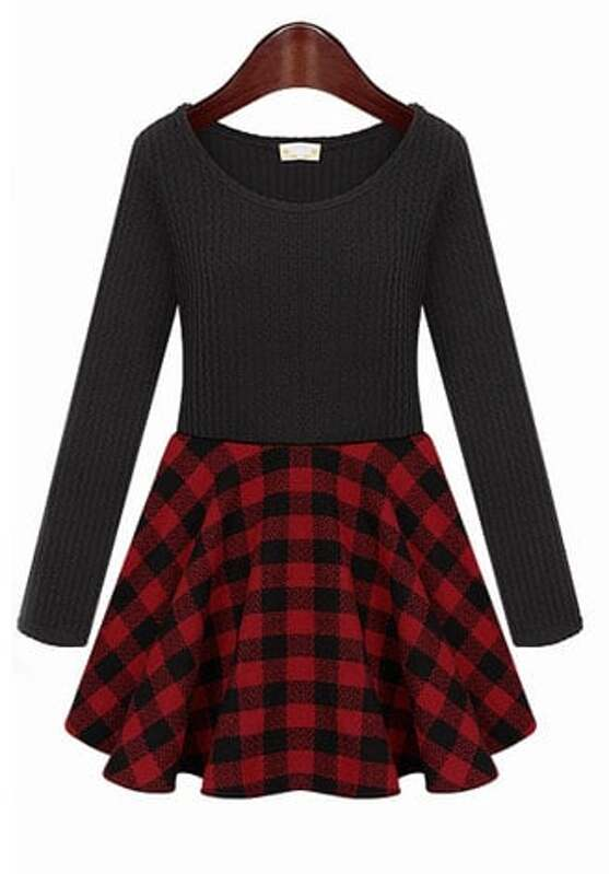 fdd8e9bd9fd4 Black Knit Long Sleeve Contrast Red Plaid Dress. AddThis Sharing Buttons