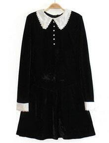 Black Contrast Lapel Long Sleeve Velvet Dress