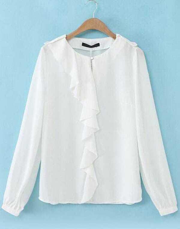5f893ac9d579d0 Cheap White Long Sleeve Ruffle Chiffon Blouse for sale Australia | SHEIN