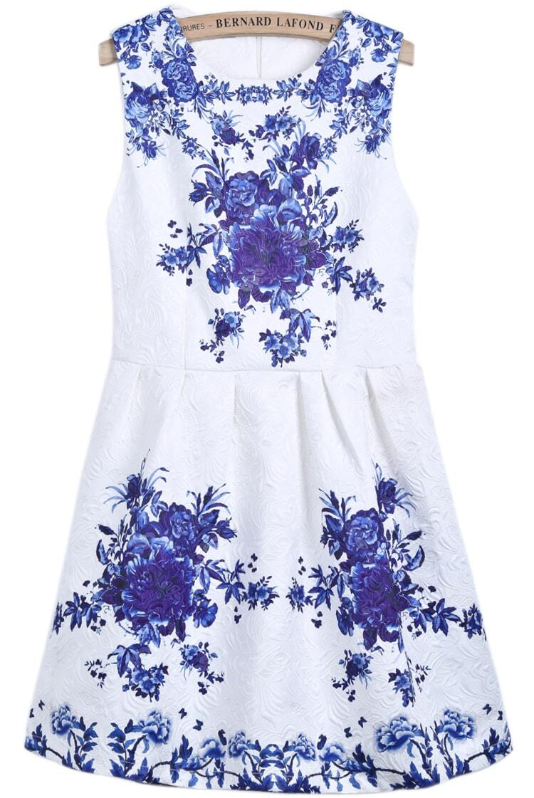 Best blue and white flower dress pictures inspiration wedding and white round neck sleeveless blue floral dress sheinsheinside izmirmasajfo Image collections