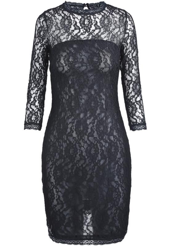 Black Long Sleeve Embroidered Lace Bodycon Dress