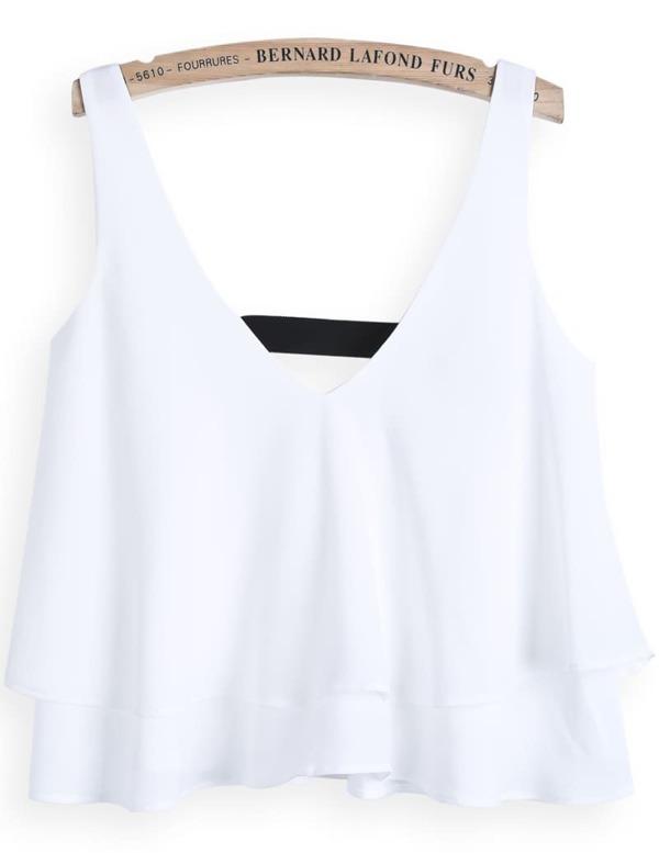 ad6d27e65a White V Neck Cascading Ruffle Vest -SHEIN(SHEINSIDE)