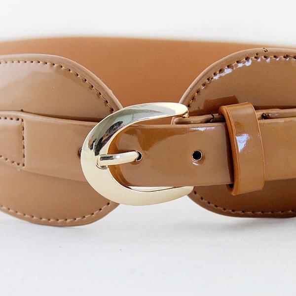 yellow patent leather buckle wide belt shein sheinside