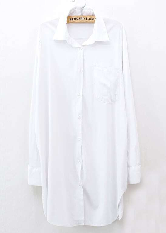 f84aa003f White Long Sleeve Pockets Lapel Oversized Blouse Shein. White V Neck  Embroidered Plain Pretty Chic Womens ...