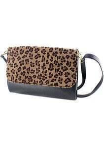 Black Contrast Leopard PU Leather Shoulder Bag