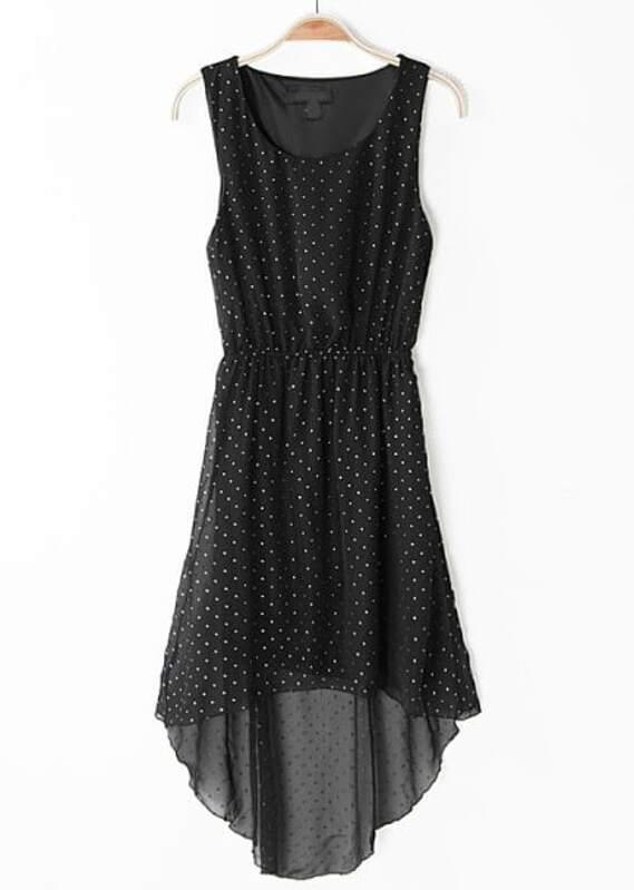 2c03566f6710d21 Чёрное высоконизкое шифоновое платье с заклепками | SHEIN