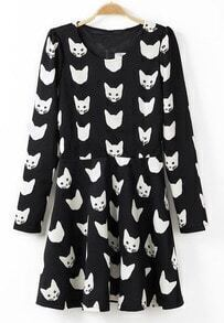 Black Long Sleeve Cat Pattern Ruffle Dress