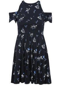 Black Off the Shoulder Backless Cartoon Print Dress