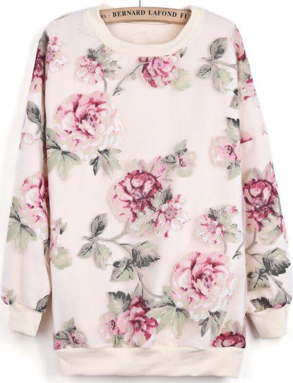 88663f749d Apricot Long Sleeve Contrast Organza Floral Sweatshirt