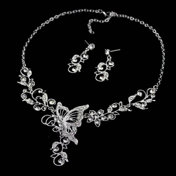 Silver Diamond Butterfly Necklace With Earrings SheInSheinside