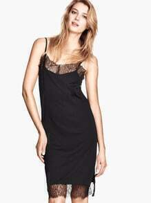 Black Spaghetti Strap Contrast Lace Split Dress