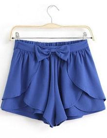 Royal Blue Bow Cascading Ruffle Chiffon Skirt Shorts