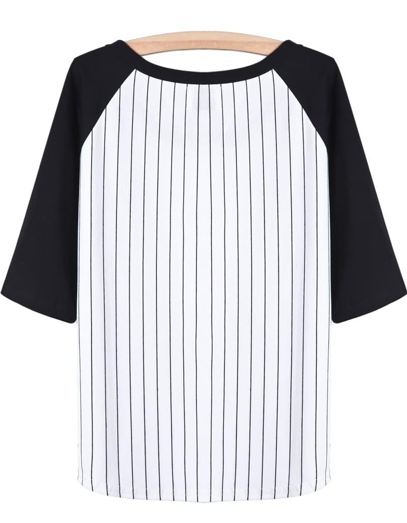 Black White Vertical Stripe Mouth Print T-Shirt -SheIn ...