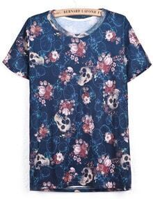 Blue Short Sleeve Floral Skull Print T-Shirt