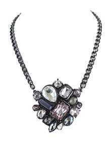 Multi Gemstone Retro Silver Chain Necklace