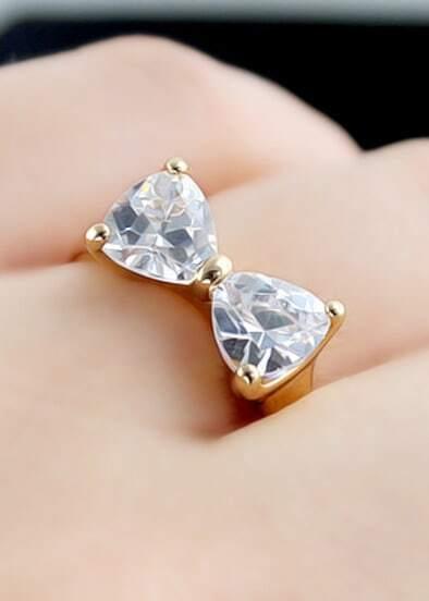 Ring Bow Il Gioiello Personalizzabile Con La Tua Nailart: Gold Diamond Bow Ring -SheIn(Sheinside