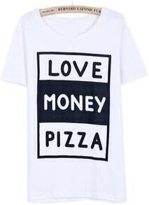 White Short Sleeve LOVE MONEY PIZZA Print T-Shirt