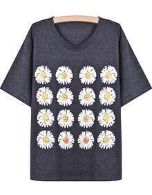 Dark Grey Short Sleeve Chrysanthemum Print T-Shirt