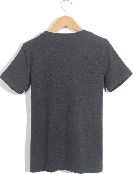 dark grey short sleeve new york story print t shirt shein sheinside