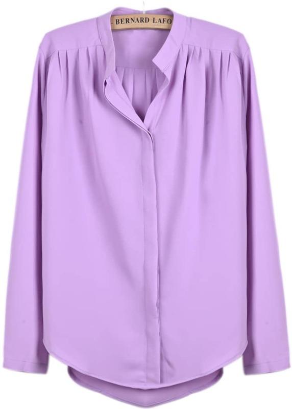 55634f9d087dec Purple Long Sleeve Pleated Chiffon Blouse | SHEIN