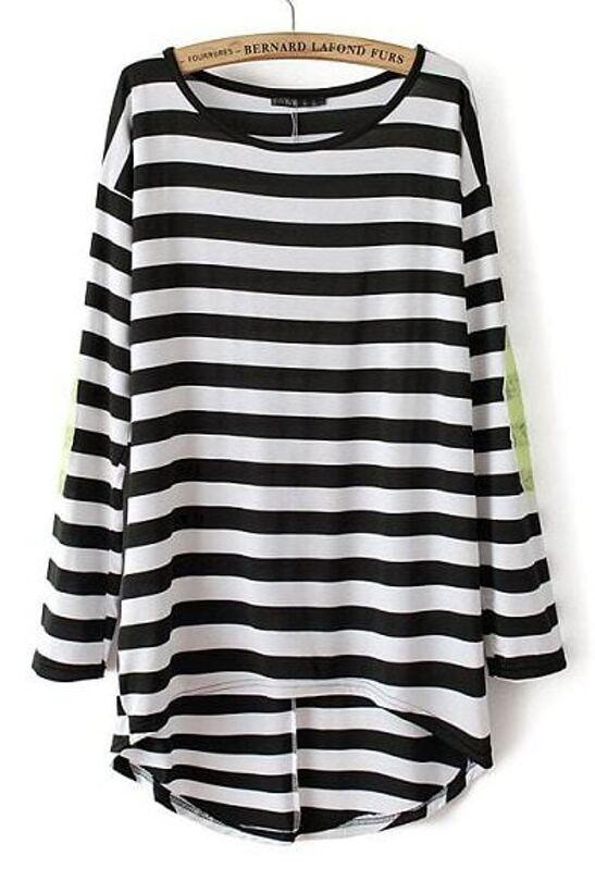0d76bfdeba86 Camiseta rayas lentejuelas manga larga-blanco y negro