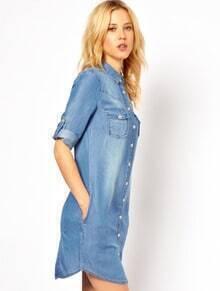 Blue Lapel Bleached Buttons Denim Dress