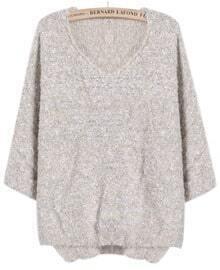Beige Long Sleeve V Neck Mohair Sweater