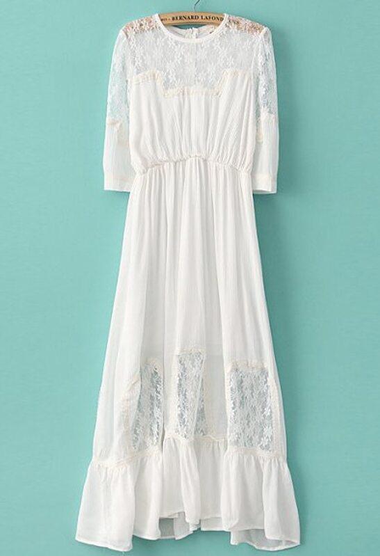 c60d8e3335 White Half Sleeve Contrast Lace Chiffon Dress -SheIn(Sheinside)