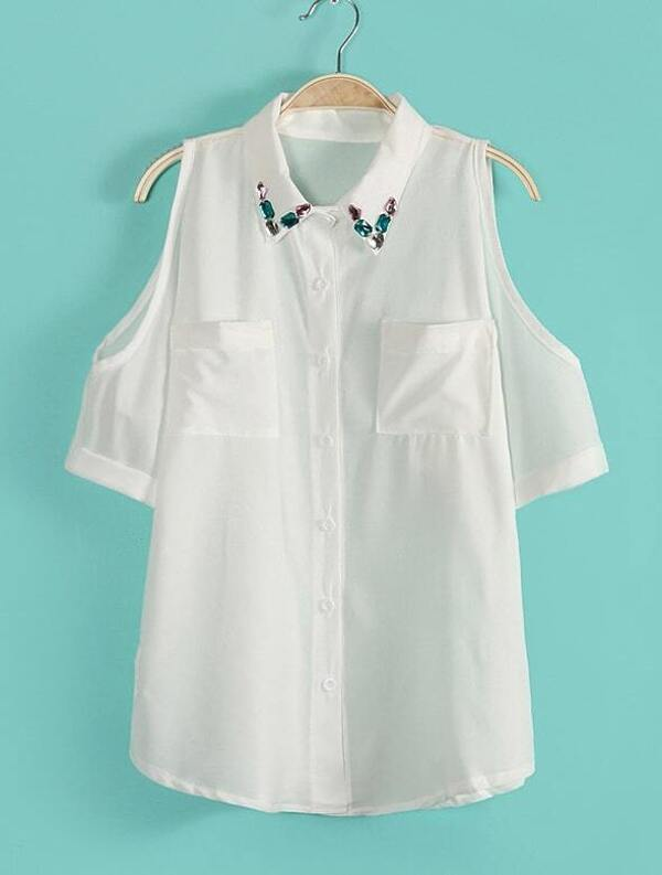 0d338347ddacb White Lapel Off the Shoulder Pockets Chiffon Blouse