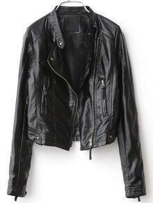 Black Long Sleeve Rivet PU Leather Zip Jacket